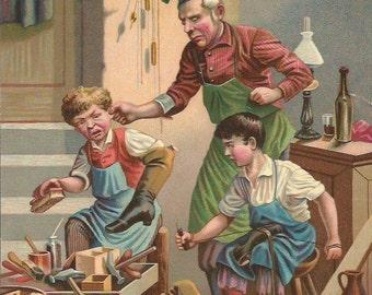 Vintage 1890 French Victorian Art print Chromolithograph/Shoemaker shop