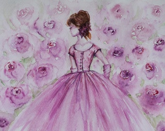 FREE, Bride gift, wedding gift, Ballerina painting, Princess decor, Flower Fairies, Girls room decor, Fairy Illustration, bridal shower gift
