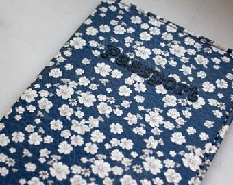 Mother Day Graduation Gift Leather Passport Cover - Passport holder - Travel wallet Passport case - Leather Wallet - Camomile on dark blue
