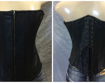 1319 Black Leather Front Zip Corset