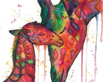 Mother and Baby Giraffe Abstract A3 Print