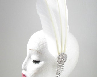 White Silver Long Feather Headpiece Fascinator Headband Vintage 1920s 1940s Y29