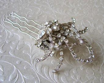 Crystal Rhinestone Wedding Hair Comb Jeweled Bridal Hairpiece Vintage 1940s AZUB Jewelry Austria Formal Ballroom Pageant Headpiece Accessory