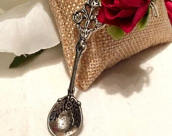LAST ONE...Silver Plated brass dazzling decorative spoon for jewelry making or dyi crafts