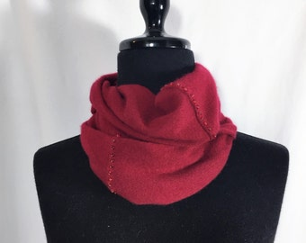 Infinity Cashmere Wool Scarf made from an upcycled rich red sweater