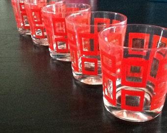 Set of 5 vintage glass highball glass / Hollywood Regency rocks glasses