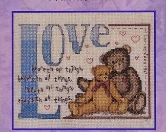 Bucilla Counted Cross Stitch Kit, #43153, Love Beareth, Jane Chandler, cross stitch, needlework, home decor, wedding gift, anniversary gift