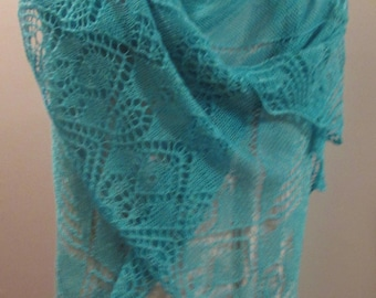Turquoise Silk Cashmere Lace Shawl Hand-knit