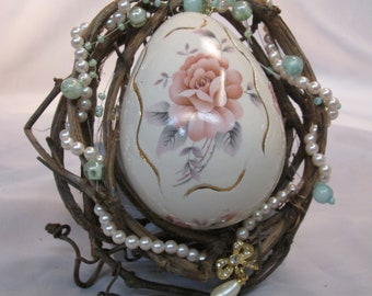 Ceramic Egg Bound in Grapevine Garland Easter Ornament made by Tin Ceiling Artist Josie