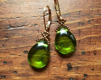 Luminous green teardrop earrings, olivine green earrings, czech earrings, true green earrings, green bead earrings, green beaded earrings