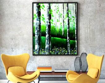 "27""X21""Modern contemporary paletteknife painting of birch trees grey green black white art"