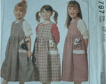 Girls  Jumper and Appliques Girls Sizes 4-5-6 McCalls Pattern 7797 Adorable Jumper!  UNCUT Dated 1995