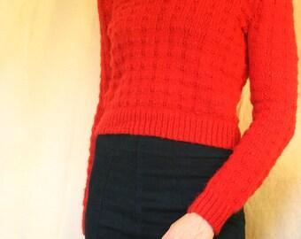 Beautiful hand knit red wool sweater