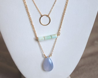 Mint Rectangle Gemstone Necklace || Gold Filled Necklace || Bohemian Jewelry