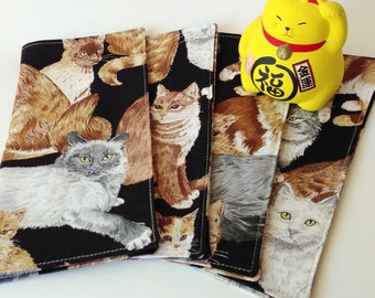 Lunchbox Cat Cloth Napkins. Set of 4 Adorable Kitty Fabric Napkins. Great Cat Lover Gift