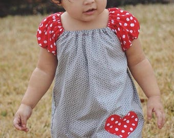 Heart appliqued peasant dress, Spring outfits, Heart heart dresses, Newborn to girls 11/12