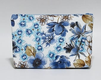 Blue Floral Makeup Bag Waterproof Brown Blue Lined Clutch Purse Project Bag