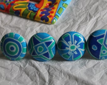 WINTER BLUES set 2 hand painted turquoise knobs