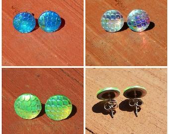 Mermaid Earrings, Mermaid Scale Earrings, Mermaid Studs, Dragon Scale Earrings, Mermaid Tail Earrings, Mermaids, Scale Earrings, Silver Stud