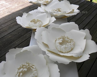 Large Cream Paper Flowers - 8 pcs - Poppy Flowers Backdrop, Wedding Flower Backdrop, Nursery Wall Decor, Party Decor - Made to Order