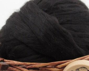Black Baby Alpaca Top - Undyed Natural Spinning Fiber/ Roving - 1oz