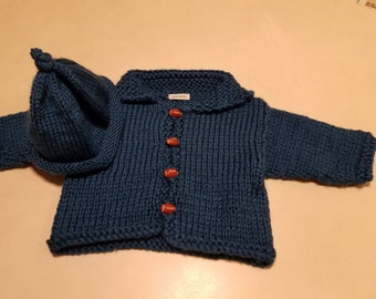 Blue (Ocean) Cardigan Baby Sweater, Football Buttons, Rolled Brim hat, Gift for Baby, FREE SHIPPING, by hipknitta