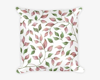 Pink and Green Leaves Pattern Pillow Case