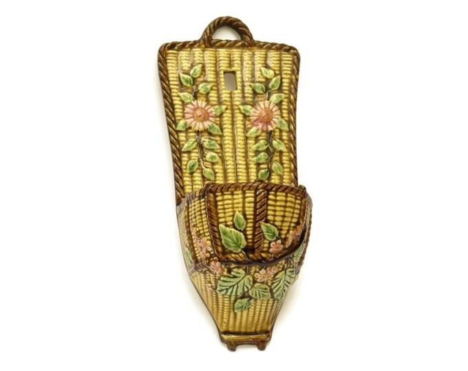 French Antique Choisy Le Roi Majolica Wall Pocket. Glazed Ceramic Basket Weave Wall Vase.