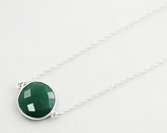 Green Emerald Necklace Sterling Silver Adjustable Necklace Genuine Emerald Necklace Real Emerald Precious Emerald Jewelry BZ-N-152.2-Em/s