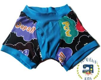 BOOM Fundies - Underwear for kids - Briefs - Boxers - Potty training - Comic words - Boys undies - POW - Superhero kids