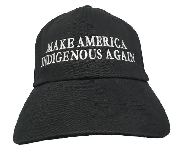 Make America Indigenous Again (Ball Cap - Black Embroidered with White Stitching)
