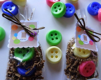 20 Button Soap Favors - 40 Soaps, Sewing, Luncheons, Special Occasion Favors complete with packaging, Buttons