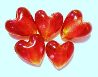 10 Red Lampwork Heart Beads foil linned red heart beads valentine beads 12mm x 12mm red beads HPM01Y (SR)