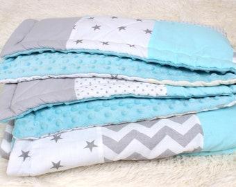 Baby Boy Blanket Blue Personalized Baby Quilt Baby Gift Patchwork Baby Milestone Blanket Baby Bedding Newborn Custom Baby Blanket Handmade