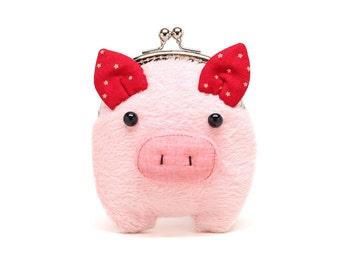 Rosa pelzigen Piggy Kupplung Geldbeutel