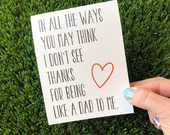 Sentimental Father's Day Card for Stepdad Happy Father's Day Card for stepfather Father's Day Card for Bonus Dad card Like a dad to me card