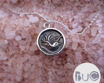 Silver necklace with old school swallow Pendant