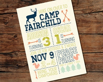 Camp Party Invitation - Hike On Over  - Digital Download File - DIY Printing