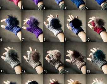 Furry Paws Fingerless Mittens with Recycled Fur - Choose your color SALE 50%