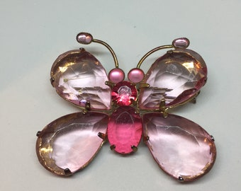 Pink Lucite Butterfly Brooch