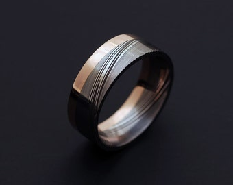 Genuine stainless Damascus Steel and Rose Gold Mens Ring PD78