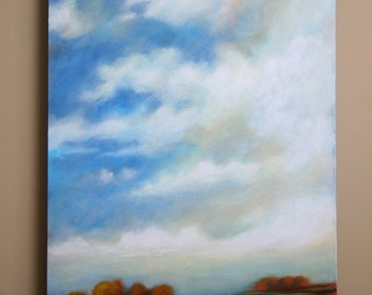 """Large landscape painting, big sky, clouds and trees, 24x36x1.5"""""""