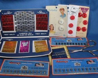 Vintage Sewing Notions - Needle Folder, Scissors, Buttons, Hooks & Eyes