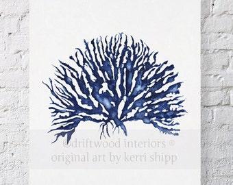 Sea Coral IV in Denim Blue Watercolor Print 11x14 - Blue Coral Art - Blue Sea Fan - Sea Life Art Print - Coral Art Print