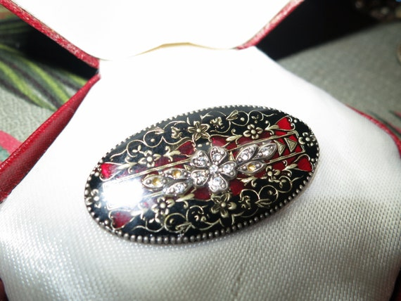 Gorgeous vintage  red stained glass enamel rhinestone brooch made in France
