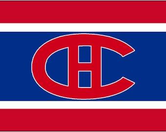 Custom Made Blanket, Crocheted Blanket, NHL Blanket, Montreal Canadiens, Canadiens Logo, Montreal Canadiens Blanket