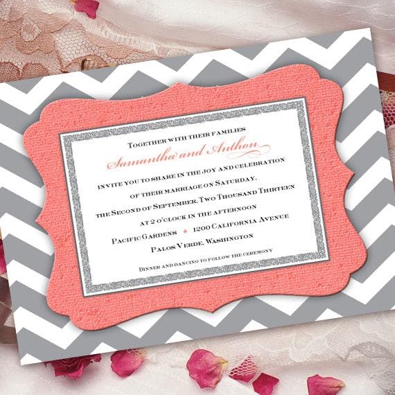 wedding invitations, coral wedding invitations, chevron wedding invitations, bridal shower invitations, chevron bridal shower, IN259