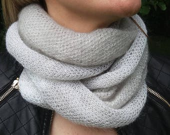 Mohair infinity scarf, Soft, Light gray and white, Cozy, Luxurious, Homemade, Classic design, Worm, Elegant, Mohair, Knitted, Gift for her