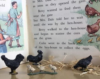 Vintage painted lead chickens
