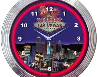 "Antique Style "" Las Vegas Strip "" Neon Clock"